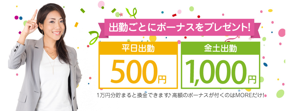 毎出勤500円~5000円分のポイントが貰える!