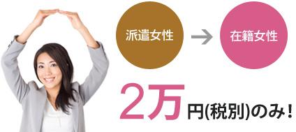 派遣女性→在籍女性は2万円(税別)のみ!